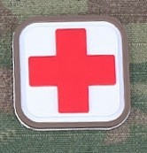 Patch Medic Square PVC Velcro Blanc Rouge Emerson
